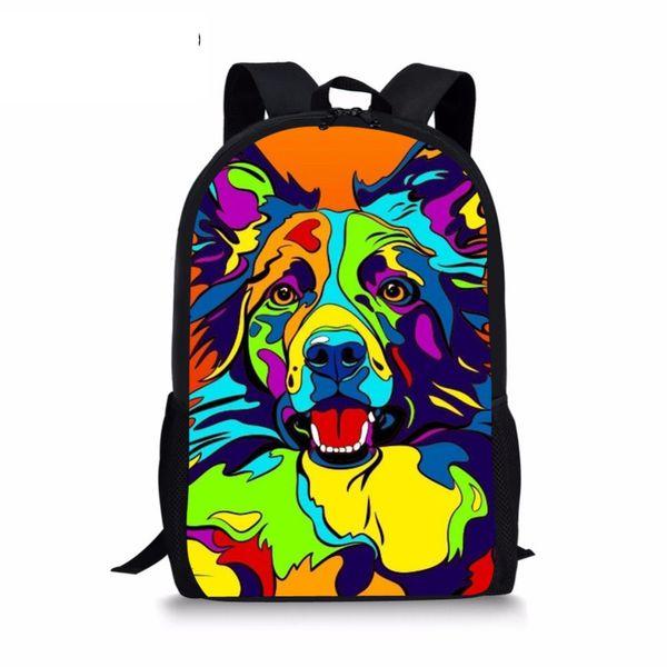 Nouveau primaire sacs d'école pour les filles coloré Boder Collie chien Art Imprimer Schoolbag sac à dos enfants sac femme pour ordinateur portable 16 pouces