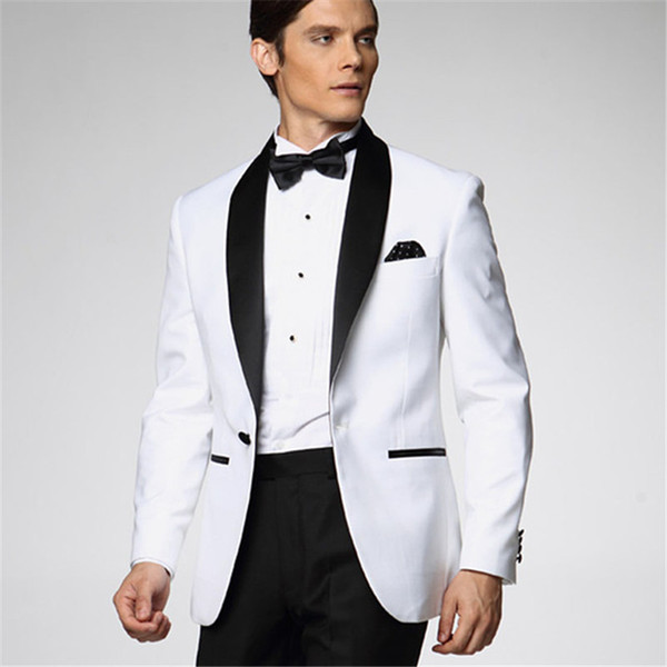 2019 White Jacket With Black Satin Lapel Groom men Tuxedos Groomsmen Best Man Suit Mens Wedding Suits Jacket+Pants+Bow Tie