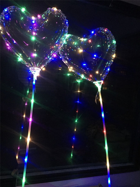 Love Heart LED Luminous Balloon BoBO Ball Flashing Light Transparent Hear Shape Balloons With 80cm Pole for Valentine's Day Wedding Party