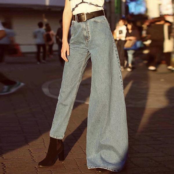 Yaz Düzensiz Denim Flare Pantolon Kadınlar Için Yüksek Bel Ince Kot Kadın Moda Giyim Streetwear 2019 Yeni