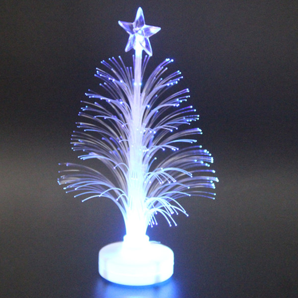 Colored Fiber Optic LED Light-up Mini Christmas Tree with Top Star Battery Powered LAD-sale