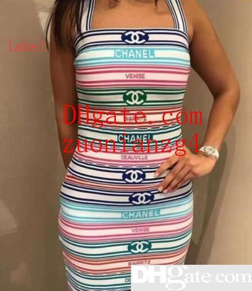 Kadınlar Marka Bandaj Günlük Elbiseler Yaz Tankı Elbise Psrignted Gömlek Soyunma Giysileri Vestidoes