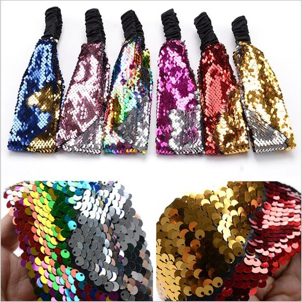 Headband Mermaid Sequins Headbands Girls Reversible Shinny Hairband Stretchy Hair Ring Bands Hair Accessories Party Headwear Bandanas C5757