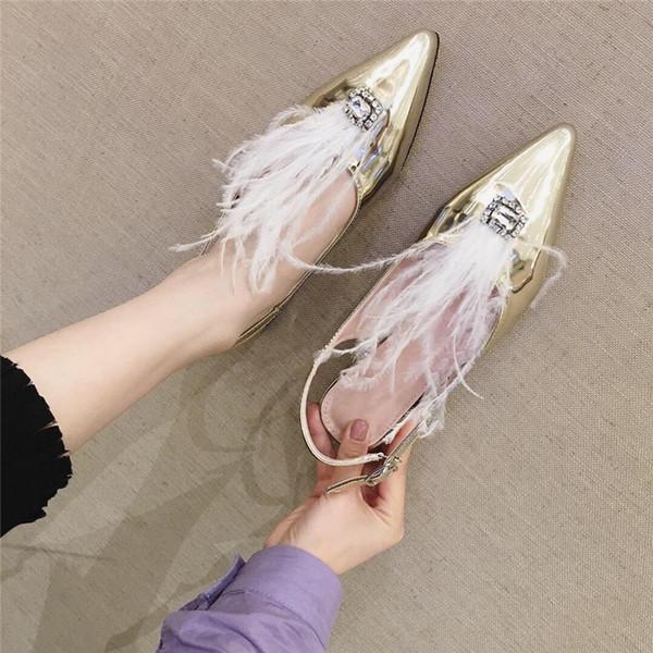 Boussac Karışık Renkler Tüy Terlik Sandalet Kadınlar Metal Gümüş Parti Sandalet Lüks Rhinestone Düz Kadın SWC0450