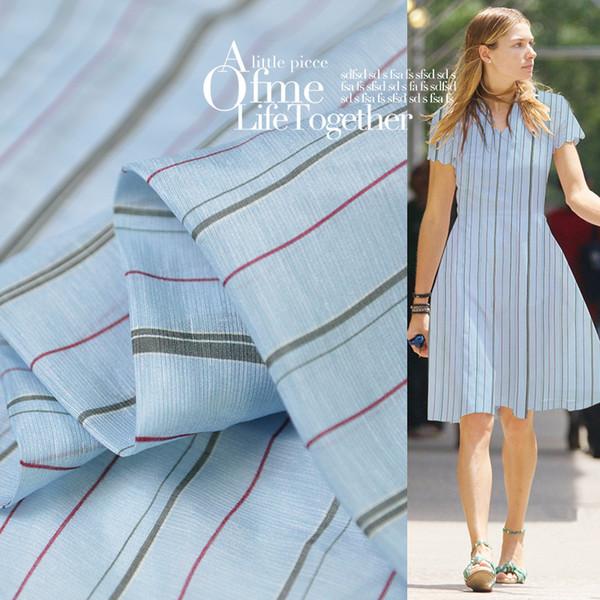 Retro Stripes Imprimé 65% Soie 35% Lin Tissu pour les femmes Robe 140cm Large 13 Tissu Momme pour Diy Couture Printemps Antumn 19 Nouveau