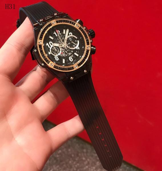 2019 Новая мода Часы света Световой двойной дисплей Кварцевые часы Band Водонепроницаемый Gold Black Diamonds Men Спорт