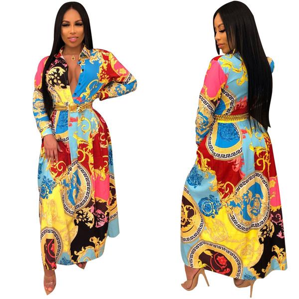 Воротник женщин сексуальный отворотом Напечатанные рубашка платья с длинным рукавом Slim Fit Midi платье Vestidos Club Party Wear