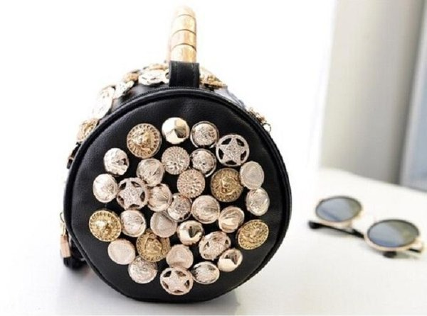 Wholesale-Rhinestone Skull Buttons Pillow Bucket PU Handbag Women Shoulder Bag Chain Clutch Handbag Bags Handbags Evening Purse
