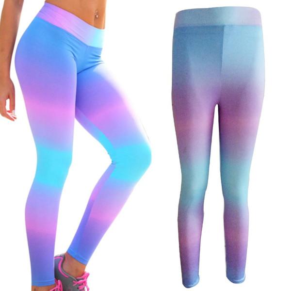 2018 Sıcak Kadınlar Yüksek Bel Tayt Neon Gökkuşağı Baskılı Yoga Pantolon Egzersiz Gym Fitness Sıkı Kadın Spor Giyim