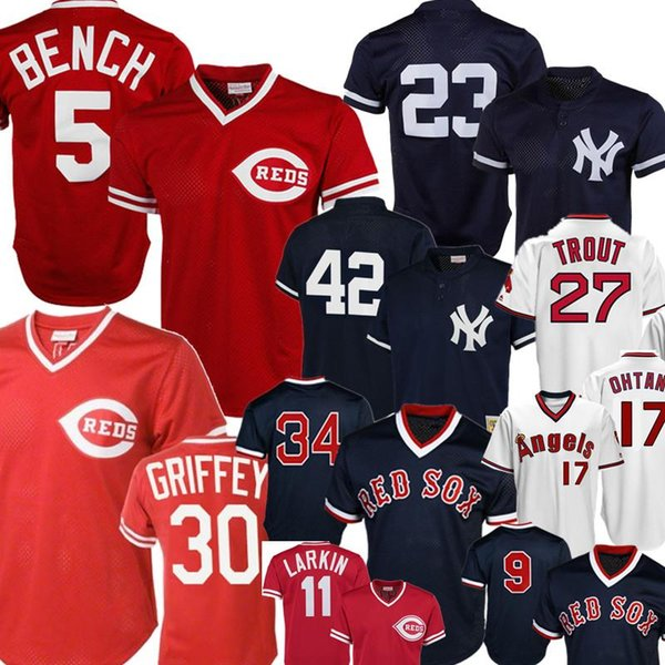 Retro di New York # 23 Yankees Don Mattingly 42 Mariano Rivera Cincinnati Reds 5 Johnny Bench Ken Griffey Jr. Barry Larkin Angels Mike Trout