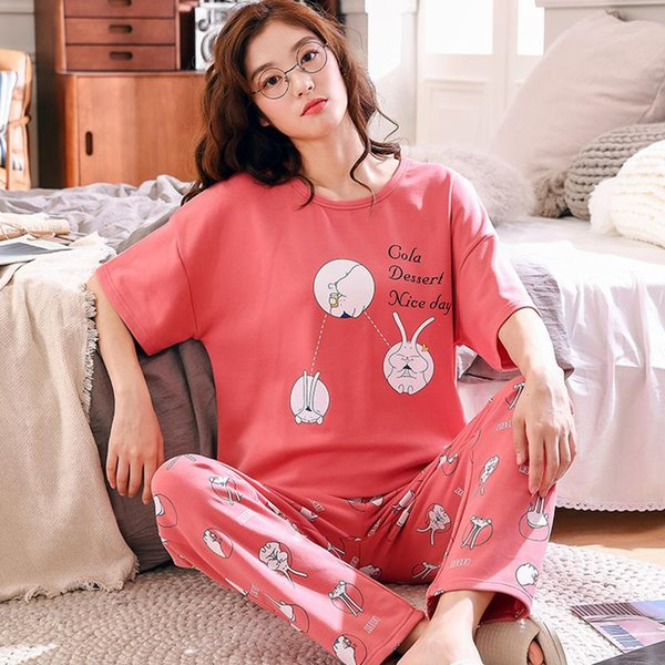 MISSKY Women Pajama Sets Cute Cartoon Pattern Short Sleeved Round Collar Pure Cotton Loose Home Wear Female Clothes For Summer