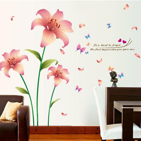 New Pink Romantic Cozy Lilies Flowers Butterfly Wall Sticker Home Decor TV Sofa Wall Poster Wallpaper PVC DIY Plants Art Mural