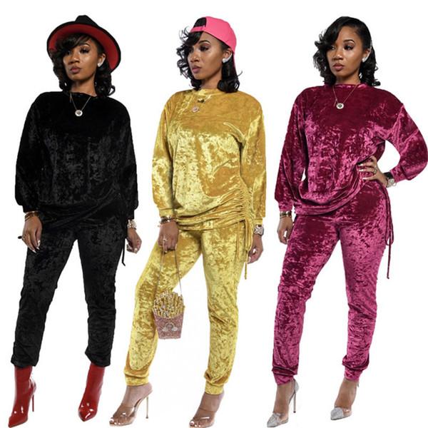 Kadınlar Pleuche Sonbahar Kış Casual Suit Giyim eşofman Kapüşonlular Tozluklar Kazak Tişörtü 2 Adet Set Bandaj Pantolon 2002 Spor
