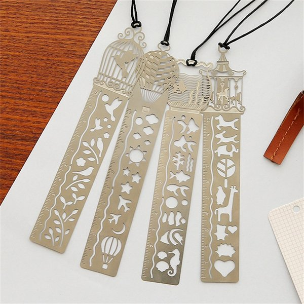 1000pcs/lot Cute Kawaii Creative Horse Birdcage Hollow Metal Bookmark Ruler For Kids Student Gift School Supplies