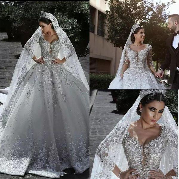Nouveau Luxueux Perlé Arabe Robe De Bal Robe De Mariage Robes Glamour Demi Manches Tulle Appliques Perles Paillettes Ajusté Robes De Mariée