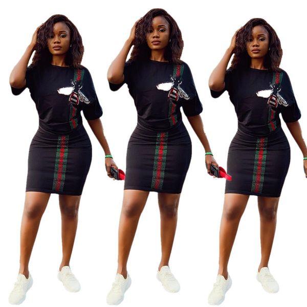 Frauen Bienendruck Marke Kurzer Rock Anzug Pailletten Gestreifte T-shirts + Boydcon Minikleid 2 Stück Set Designer Streetwear Luxus Outfits C6605