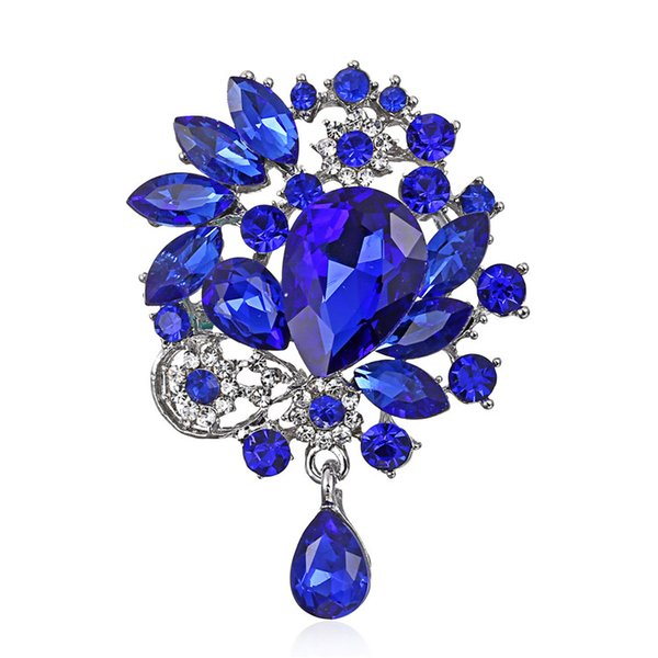 2019 European bouquet alloy clear brooch elegant champagne party wedding drop rhinestone fashion jewelry brooches for unisex gift wholesale