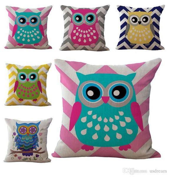 decorative play mat.htm colorful carton owl birds pillow case cushion cover linen cotton  pillow case cushion cover linen cotton