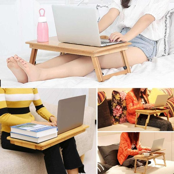 portable folding lapdesk notebook table adjustable breakfast serving tray bed table with drawer working in bed car sofa