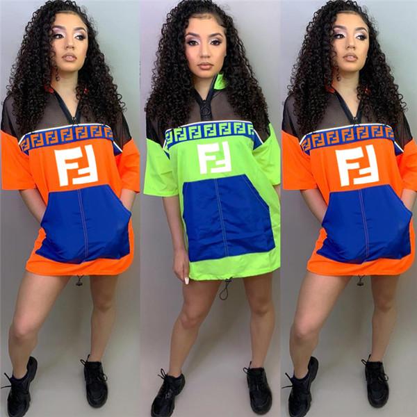 Women's F Letter Summer Dress Short Sleeve Mesh Patchwork Dresses Zip T shirt Jacket Loose Skirt Quick Dry Sportswear Clothes S-XXL C43303