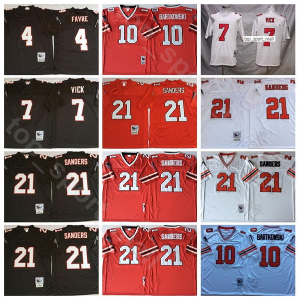 top popular Football 7 Michael Vick Jerseys 4 Brett Favre 21 Deion Sanders 10 Steve Bartkowski Red Black White Stitch Men Vintage New 2021