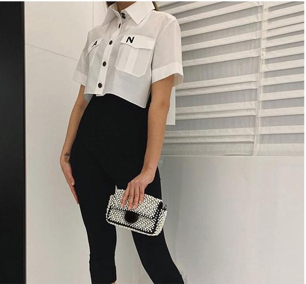 Mujeres 2019 Moda Turn Down Collar bolsillo camisa blusa Camisa linda impresión de la letra floja ocasional Blosues Tops Ladies Blusa