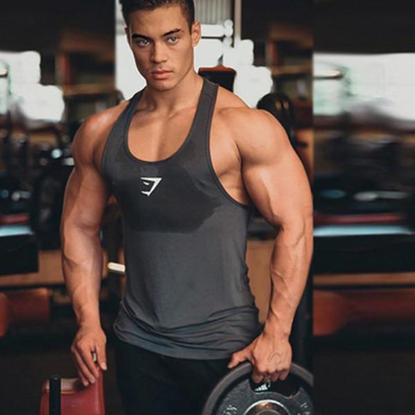 Gymnase Débardeur Hommes Bodybuilding Stringer Singlet Vêtements de Fitness Sans Manches Séchage Rapide Chemise Y Retour Gilet De Mode Roman