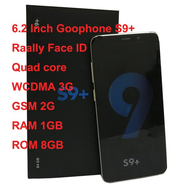 HD 6.2 Inch Goophone 9 Plus With WCDMA 3G GSM 2G Quad Core RAM GB ROM 8GB Android 7.0 Camera 8.0MP Really Face ID smart phone Show 6GB 128GB