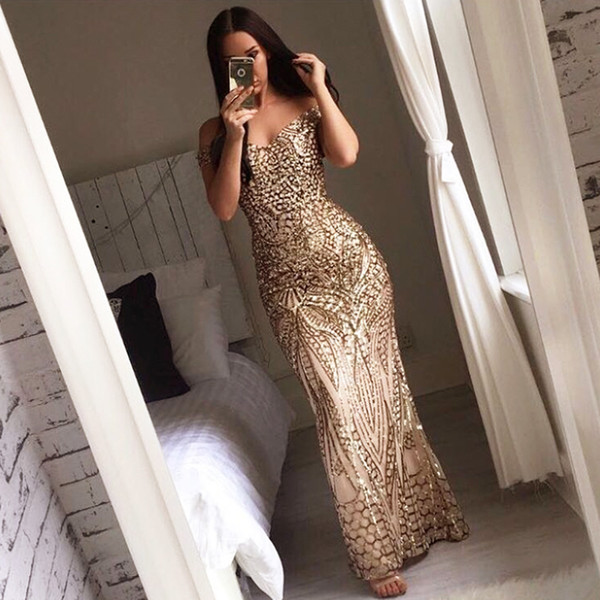 Sexy Gold Shiny Sequin Maxi Party Dress Off Shoulder Long Lining Low Cut Floor Length Retro Evening Gown Blue Green Black Dress Y19012201