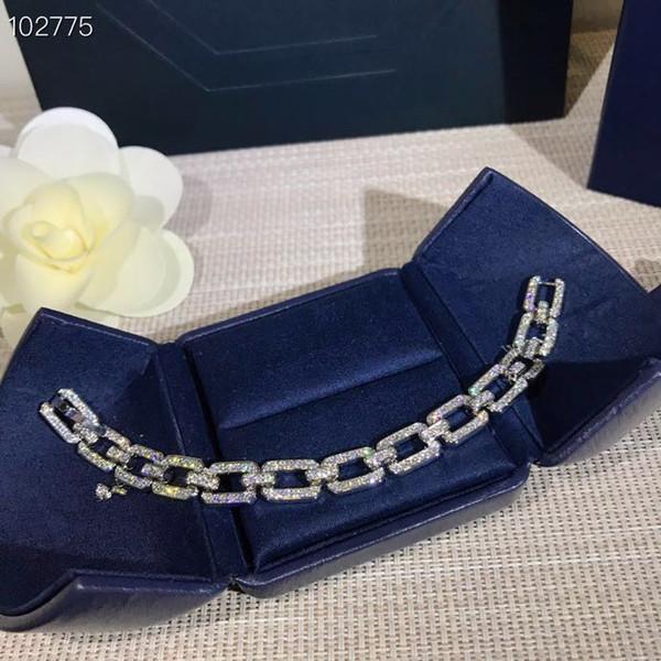 Charm Bracelet design di lusso diamante link Classic S925 Fibbia Sterling Silver Hollow piazza piena catena di cristallo per le donne Monili