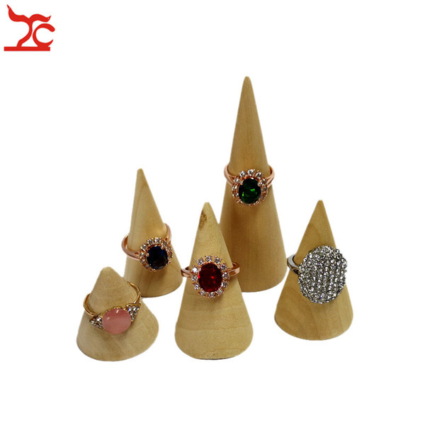 Display Wooden Holder Finger Ring Jewelry Stand Cone Shape Organizer Showcase Rack Case Stands Ring Holder Jewelry Storage Stand 10pcs/Lot