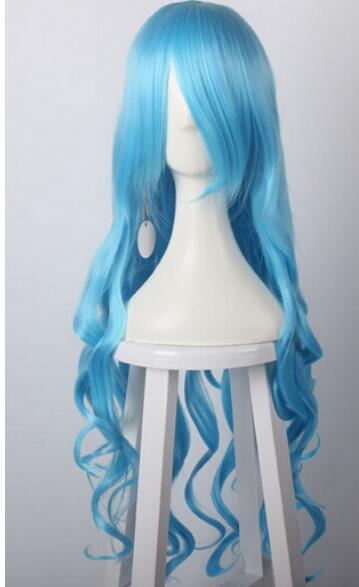 LIVRAISON GRATUITE ++ Perruque de cheveux Cosplay perruque 80cm de vague bleue longue vague synthétique Blue