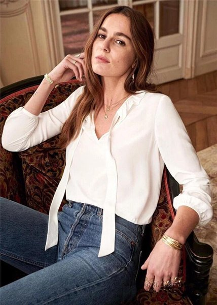 100% Silk 2019 New Women White Black Shirt Bow Tie Ribbon Ruffle Neck Sweet Blouse Elegant Top