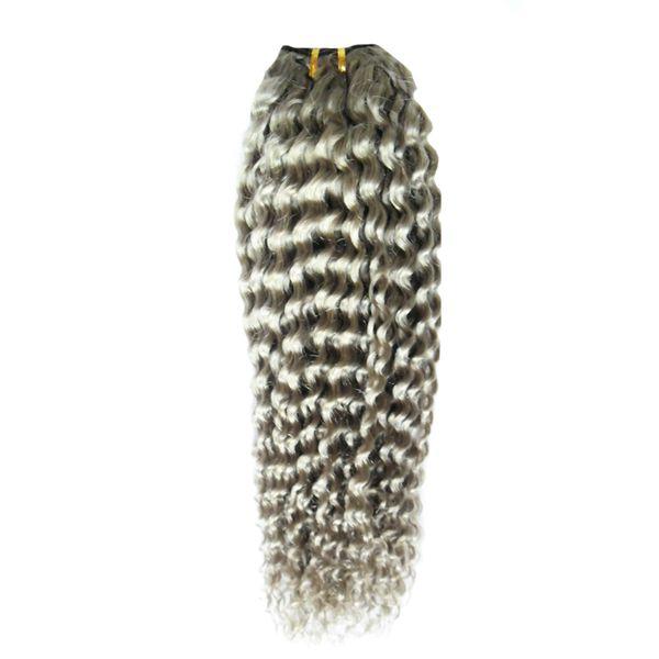 Cheveux brésiliens faisceaux d'armure de cheveux gris faisceaux d'armure 1PC non transformés brésiliens afro Kinky vierge tisse de cheveux humains, enchevêtrement, double trame