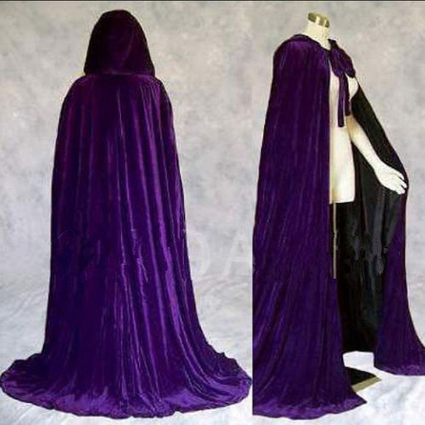 Lined Satin Velvet Cloak Hooded Gothic Robe Medieval Cape For Adult Halloween
