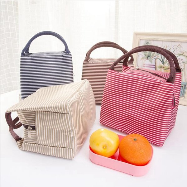Leisure Women Portable Canvas Stripe Insulated Cooler Thermal Food Picnic Bags Kids Lunch Box Bag Tote C19021301