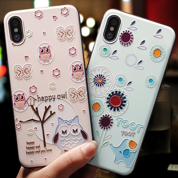 For iPhone 5 5S Se 6 6S 7 8 Plus X Xr Xs Max Case Soft Silicone Rubber Cover 3D Animals Flowers Embossed