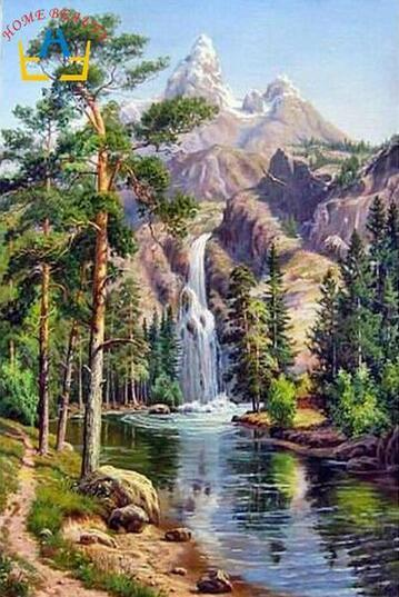 40x50cm picture waterfall drawing on canvas oil painting by hand coloring landscape