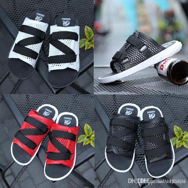 good quality Summer Slippers designer sandals Men Hollow Out Breathable Beach Flip Flops Casual Slip-on Flats Sandals Men Shoes size 37-44