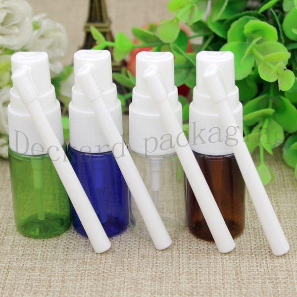 100pcs 10ml transparent / bleu / vert / PET brun FINE vide Nasal Spray Mist bouteille en plastique, nez cosmétique Vaporisateur