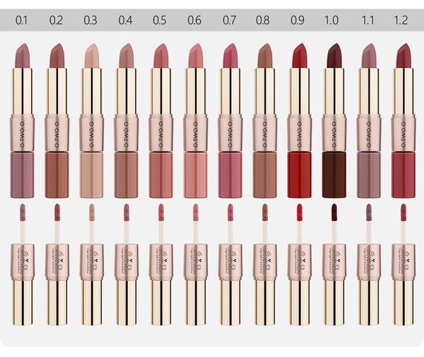 O.TWO.O Beauty Makeup Lipstick 12 Colors Double-head Matte Lipstick Lip Gloss Lips Makeup Waterproof Long-lasting Lip Gloss