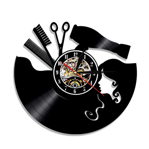 top popular 50pcs customizable 12 inches Black Vinyl Record Wall Classroom Home Decor Wall Art Clock Gift DHL 2020