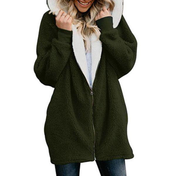Kadın Ceketler Kış Ceket Kadınlar Hırka Bayanlar Sıcak Jumper Polar Faux Kürk Hoodie Dış Giyim manteau Femme Artı boyutu 5XL