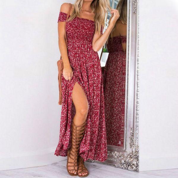 best selling Bohemian Women Summer Dress 2019 Red Blue Floral Boho Dresses Off Shoulder Long Beach Vestidos Sexy Sundress Casual Maxi Dress GMX190708