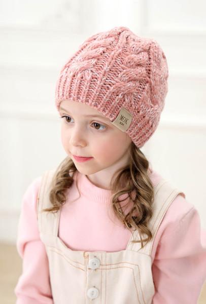 New Childrens malha Chapéus de outono e rabo de cavalo Hat Fashional Acrílico Lã Dual-cor pura Crianças Crânio inverno da menina quente Caps Em massa