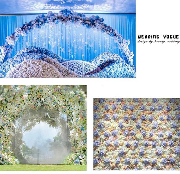 Renkli Dekoratif Çiçek Baş Yapay İpek Ortanca DIY Ev Partisi Düğün Kemer Arka Plan Duvar Dekoratif Çiçek 50 adet / grup