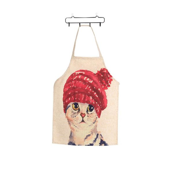 Linen Cute Cat Two Patterns Parent-Child Aprons Funny Kitchen Clean Tool For Cooking Painting
