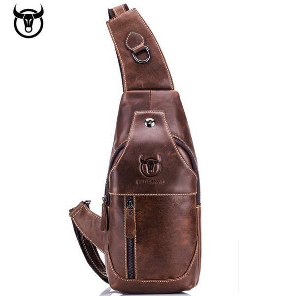 Bag Outdoor Leisure Mens Chest Bag Leather Shoulder Messenger Bag Casual Leather Chest Bag Color : Brass, Size : M