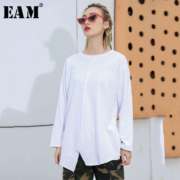 [EAM] 2019 Primavera Verão Mulher Nova Cor Branca de Manga Longa O-pescoço Emendado Botão Hem Dividir Solto T-shirt Todos Os Jogos LI441