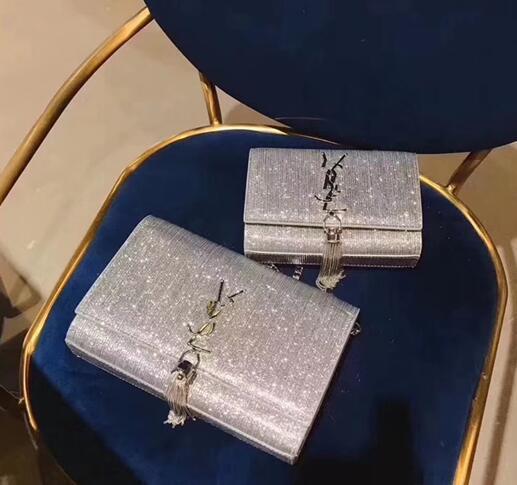 2018 nuove donne autunno moda semplice tallone di colore Soild perline e decorazioni a catena borsa a tracolla